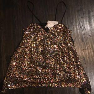 Multi color sequin babydoll top